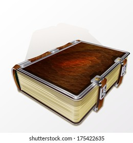 Old leather bound book isolated on a white background