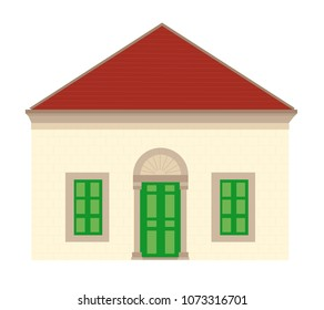 Old Lebanese Traditional House with Red Roof Tiles - Vector Illustration Isolated