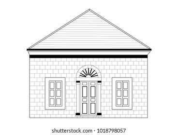 Old Lebanese Traditional House - Vector Illustration Isolated