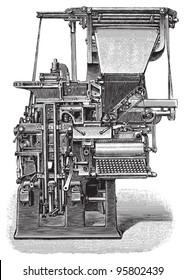 Old linotype machine / vintage illustration from Meyers Konversations-Lexikon 1897