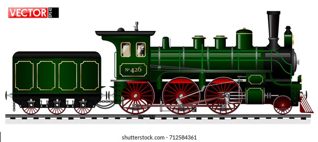An old locomotive of green color with a steam engine and a tender. Side view. Traced details and mechanisms