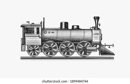 Old locomotive or train on railway. Retro transport. Engraved vintage, hand drawn sketch for t shirt.
