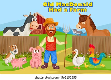 Old MacDonald, Kids English Nursery Rhymes book illustration in vector