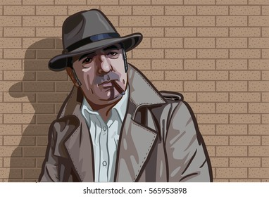 An old mafia man standing front of brick wall.