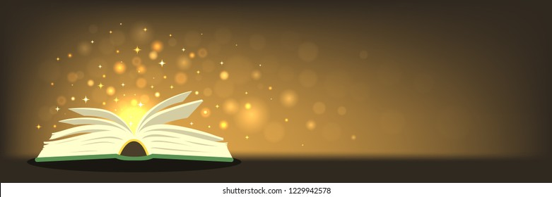 Old magic book with magic lights on horizontal banner with place for your text. Fantasy, fairy-tale, miracle, literature concepts . Vector illustration.