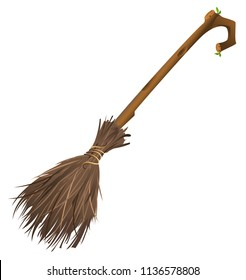 Old magic broom on which witch flies. Isolated on white vector cartoon illustration