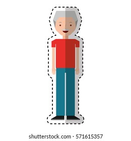old man avatar character vector illustration design