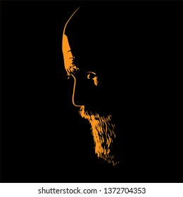 Old Man with beard. Portrait silhouette in backlight. Vector. Illustration.