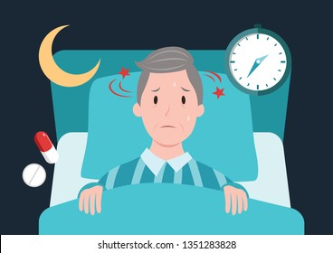 old man in bed can not sleep flat cartoon character design