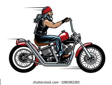 old man biker riding chopper motorcycle