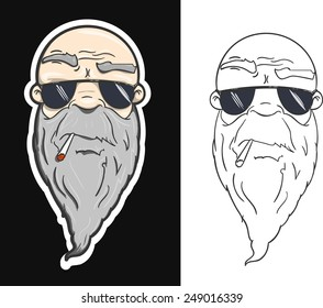 Old man biker smoking cigarette