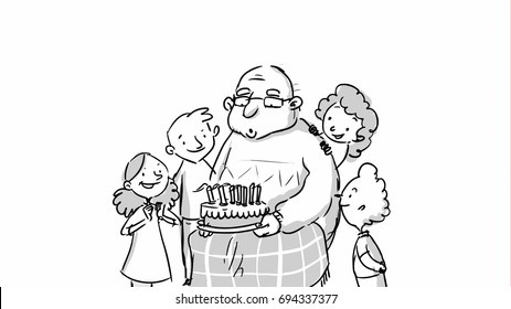 Old man with a birthday cake Vector sketch for cartoon, storyboard, projects