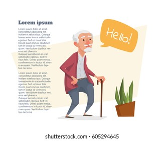 Old man with a cane and a bubble for text. Vector illustration.
