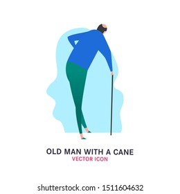 The old man with a cane. Elderly people problem. Medicine, healthy lifestyle concept. Editable vector illustration in blue, green colors isolated on white background. Flat icon