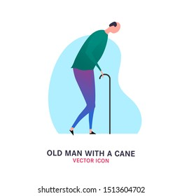 The old man with a cane. Elderly people problem. Medicine, healthy lifestyle concept. Editable vector illustration in violet, green colors isolated on white background. Flat icon