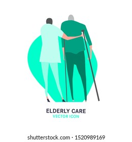 The old man with a cane supported by a nurse. Elderly people problem. Medicine, healthy lifestyle concept. Editable vector illustration in grey, green colors isolated on white background. Flat style