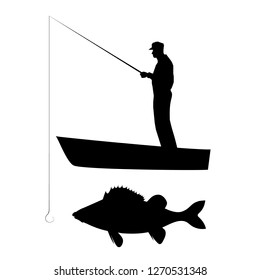 Old man in cap catching big perch with fishing rod on boat. Vector black silhouette image.