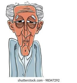 Old man cartoon style illustration, vector.