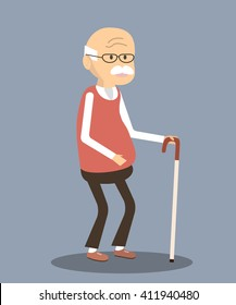 Old man character. An elderly man with glasses and walking cane. Vector illustration old man. Senior man flat design. Old man isolated.