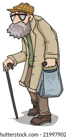 Old man character, vector illustration