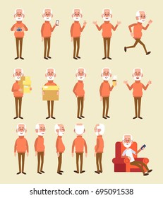 Old man character vector set. Flat style illustration.