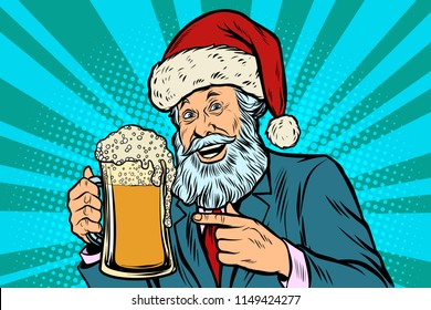 Old man in a Christmas cap with a mug of foam beer. Comic cartoon pop art retro vector illustration drawing