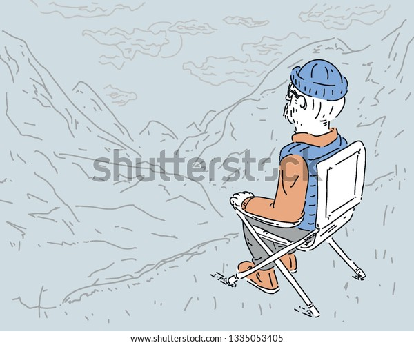 Old Man Climbs Down On Mountain Stock Vector Royalty Free 1335053405