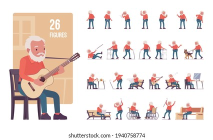 Old man, elderly person set, pose sequences. Senior citizen over 65 years, retired bearded grandfather, nice aged pensioner. Full length, different views, gestures, emotions, positions