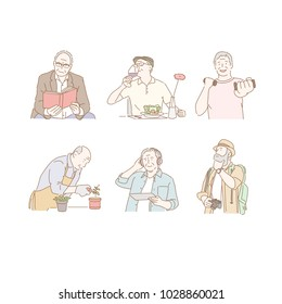 Old man enjoying a wonderful old age. hand drawn style vector doodle design illustrations.