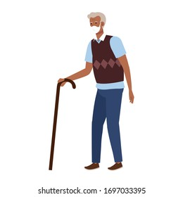 old man with face mask isolated icon vector illustration design