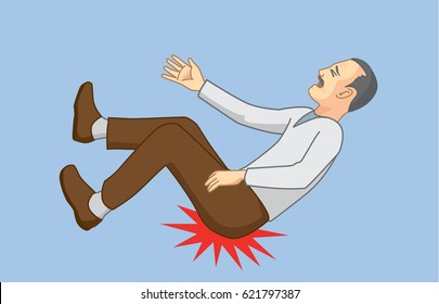 Old man with falling accidents and hip hit to the ground. Illustration about health of senior .