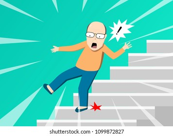 Old man falling from staircase, vector art