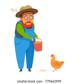 Old man farmer in coverall holds a bucket of feed for poultry, feeding chicken. Vector cartoon colorful bright illustration isolated on white. Healthy farm lifestyle.