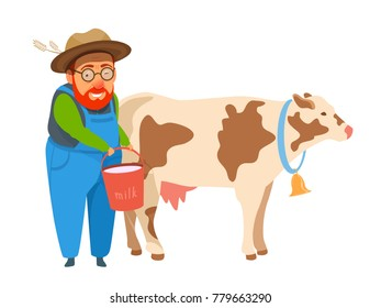 Old man farmer in coverall holds a bucket of milk. Standing next to a cash cow. Vector cartoon colorful bright illustration isolated on white. Healthy farm lifestyle.