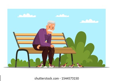Old man feeding birds flat vector illustration. Aged person, retiree sitting on bench in park cartoon character. Grandfather resting in park, fresh air recreation. Leisure activity, retirement concept