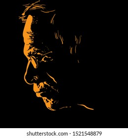 Old man with glasses portrait silhouette in contrast backlight. Vector. Illustration.