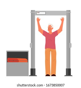 Old man going through the metal scanner. Security control checkpoint in the airport. Metal detector for safety on board. Isolated flat vector illustration