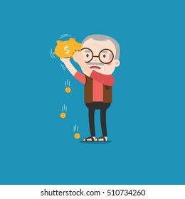 Old man with golden piggy bank, Pension