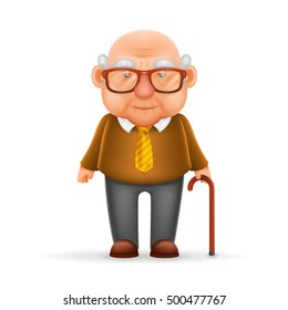 Old Man Grandfather Realistic Cartoon Character Design Isolated Vector Illustration