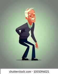 Old man grandpa character has back pain. Osteoporosis retirement suffering concept. Vector flat cartoon illustration