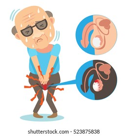 Old Man hand holding on middle crotch of trousers. testicular abnormalities. Vector illustration.