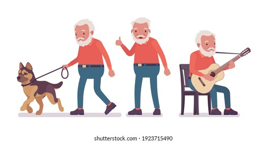 Old man, happy elderly person with guitar, pet dog. Senior citizen over 65 years, retired bearded grandfather, aged pensioner. Vector flat style cartoon illustration isolated, white background