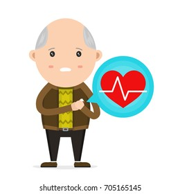 Old Man having Heart Attack,Vector flat modern style illustration character icon design. Isolated on white background. Problem with heart, chest pain, heart burn concept
