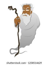 old man jinn jinni in white uniform vector