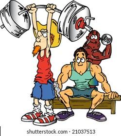 Old Man Lifting Weights