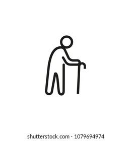Old man line icon. Cane, senior, walking. People concept. Can be used for topics like aging, retirement, disease.