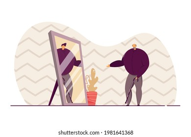 Old man looking in mirror and seeing younger self. Elderly person with waking stick, young man in reflection flat vector illustration. Youth, nostalgia concept for banner, website design
