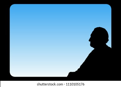 Old man looks out window. Vector illustration with isolated silhouette of passenger on train. Blue pastel background