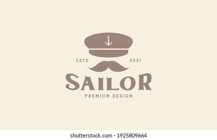 old man mustache skipper captain logo design vector icon symbol graphic illustration