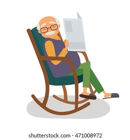 Old man with newspaper in her rocking chair. Vector illustration